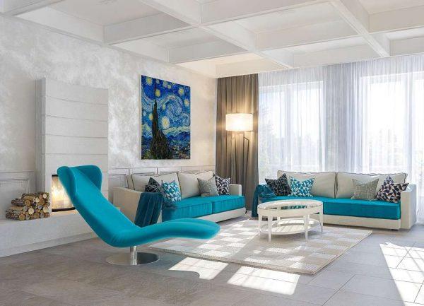интерьер гостиной в светлых тонах с картиной