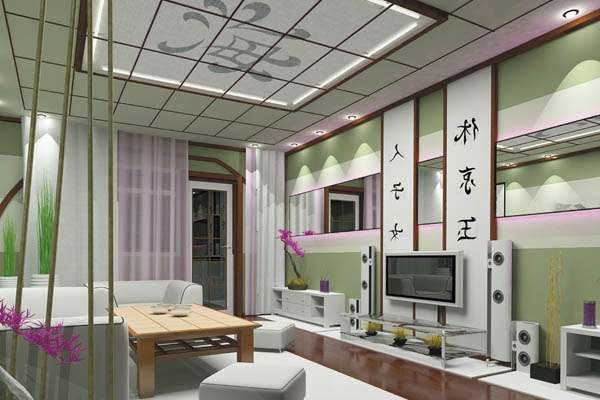 зелёный в интерьере гостиной в японском стиле