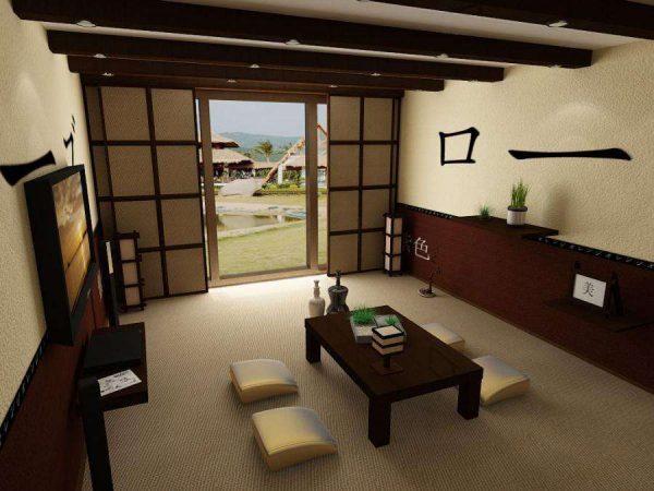 Натуральная циновка на полу и традиционная низкая мебель