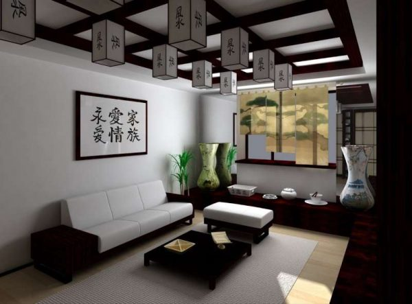 освещение в гостиной в японском стиле