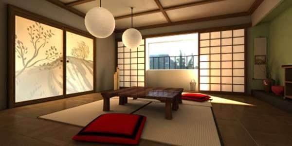 люстры шары в интерьере гостиной в японском стиле