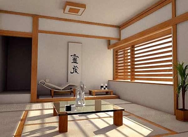 дерево в интерьере гостиной в японском стиле