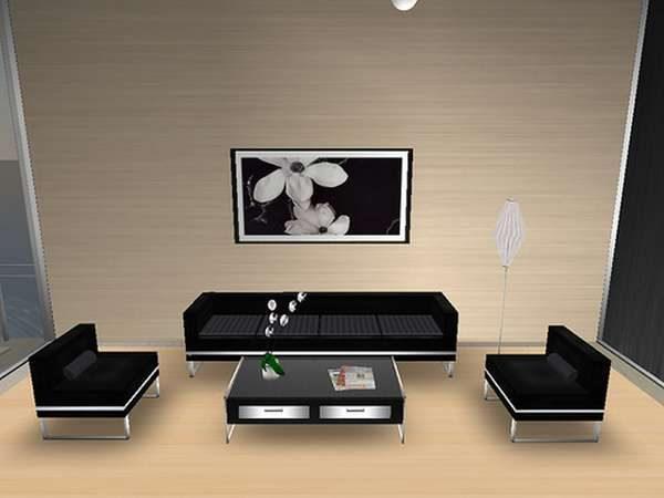 мягкий уголок в интерьере гостиной в японском стиле