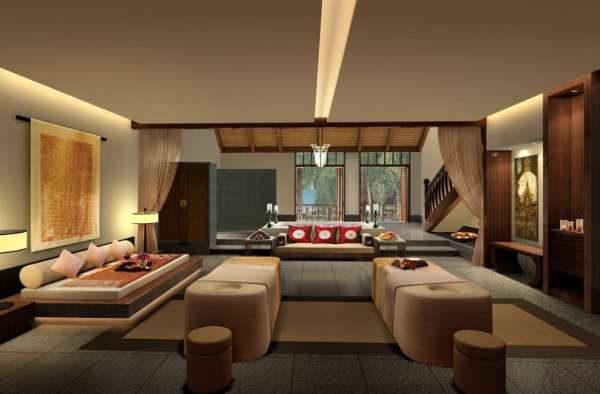 мягкая мебель в интерьере гостиной в японском стиле