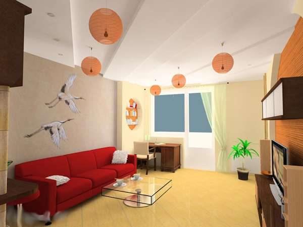 красный диван в интерьере гостиной в японском стиле