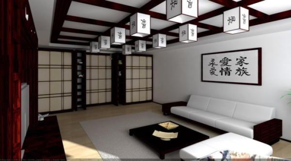 японский стиль в интерьер гостиной