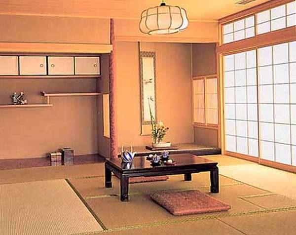 персиковый в интерьере гостиной в японском стиле