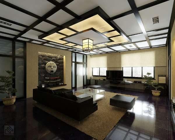 многоуровневый потолок в интерьере гостиной в японском стиле