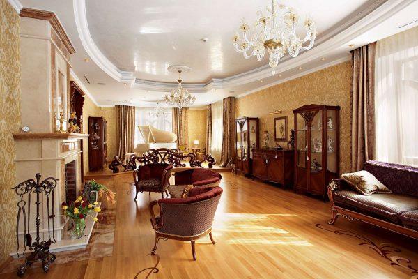 современная классика в интерьере гостиной частного дома