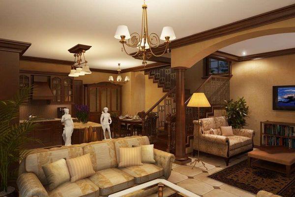 гостиная в частном доме в классическом стиле