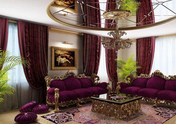 барокко в интерьере гостиной частного дома