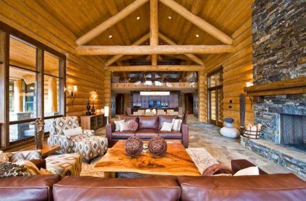 стиль шале в интерьере гостиной частного дома