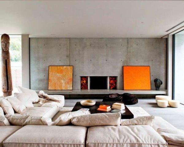 бетонные стены в интерьере гостиной частного дома