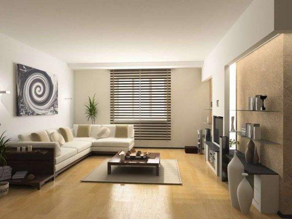 светлый интерьер гостиной в частном доме