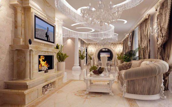 потолки натяжные в гостиной