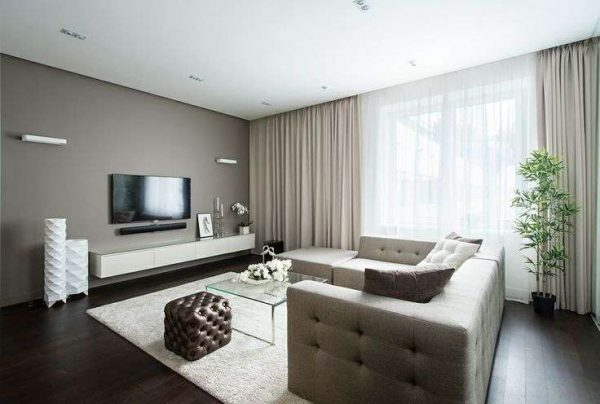 стиль минимализм в интерьере гостиной в современном стиле