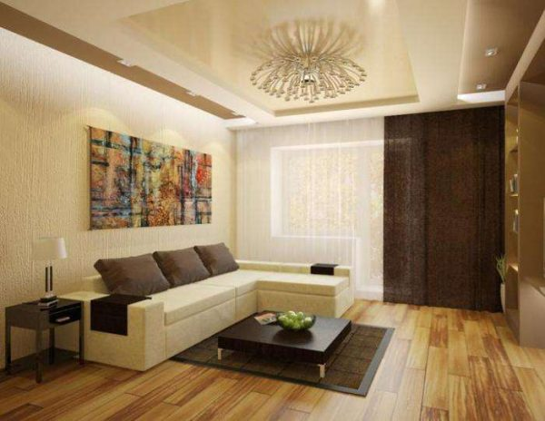 шоколадный цвет в интерьере гостиной в современном стиле