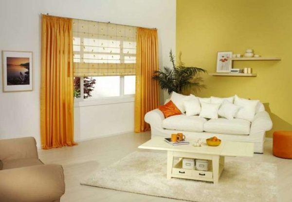 жёлтый цвет в интерьере гостиной в современном стиле