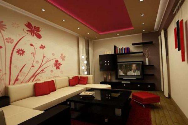 красный, бежевый и чёрный в интерьере гостиной в современном стиле