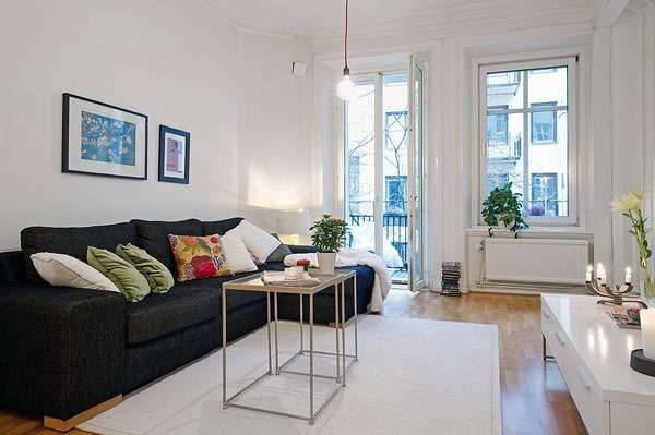 диван-кровать в нтерьере гостиной 18 кв м в хрущёвке