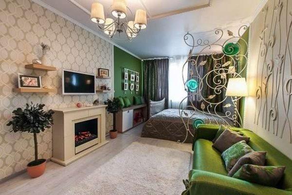 Интерьер гостиной 18 кв м в хрущёвке со спальней