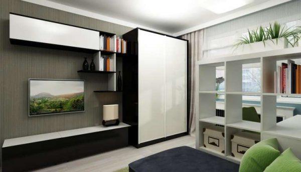 Интерьер гостиной 18 кв м в хрущёвке с зонированием