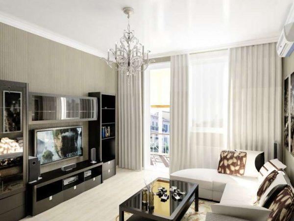 белые шторы в гостиной 18 кв м в хрущёвке