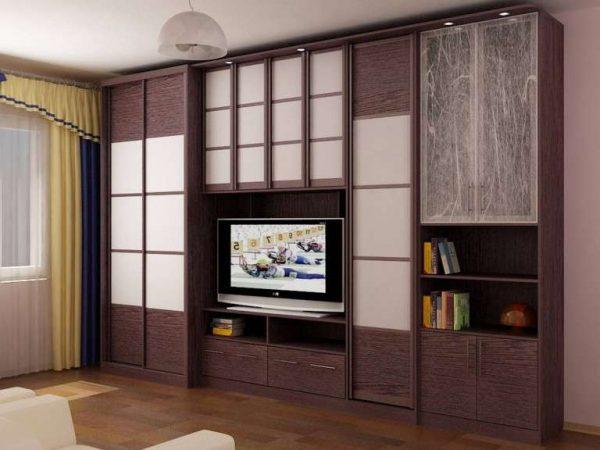 мебельная стенка в интерьере гостиной 18 кв.м в хрущёвке