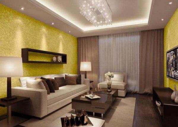 многоуровневый потолок в интерьере гостиной 18 кв.м в хрущёвке