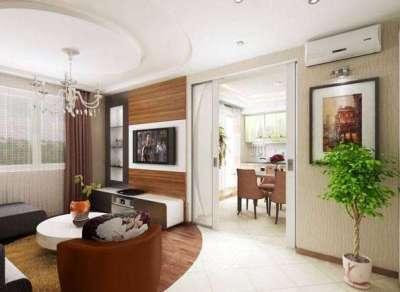 Интерьер гостиной 18 кв м в хрущёвке с раздвижными дверями
