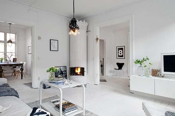 гостиная с камином в скандинавском стиле