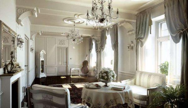 классицизм в интерьере гостиной