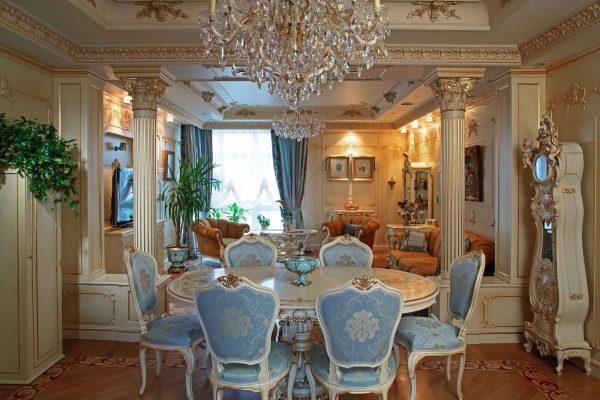 барокко в интерьере гостиной в классическом стиле