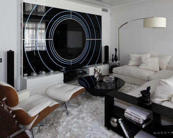 Мебель в интерьере гостиной в техно стиле