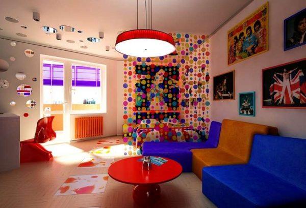Мебель в стиле поп арт в интерьере гостиной