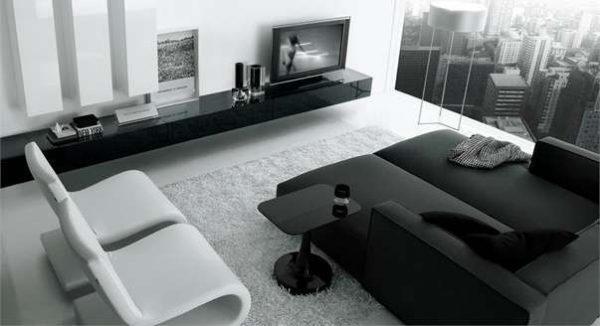 корпусная чёрно белая мебель в гостиной