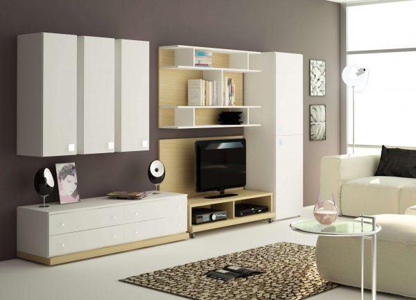 белая корпусная мебель в интерьере гостиной модерн