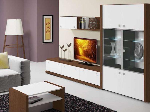 корпусная мебель с прозрачными стёклами в интерьере гостиной