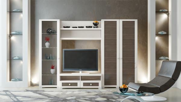 мебельная стенка белая в интерьере гостиной