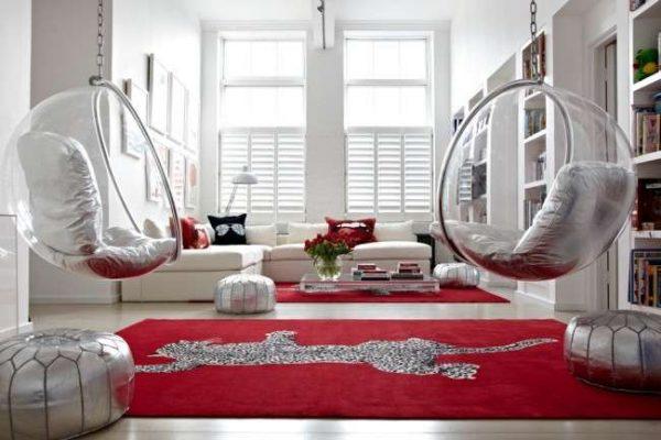 яркий ковёр с пантерой в интерьере гостиной