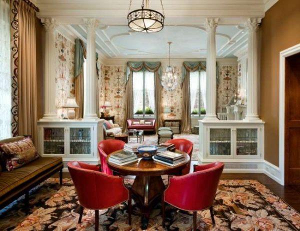 стильный большой ковёр в интерьере гостиной