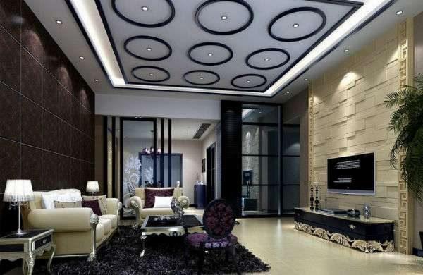 чёрный ковёр в интерьере гостиной