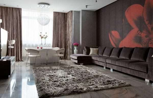 шерстяной ковёр в интерьере гостиной