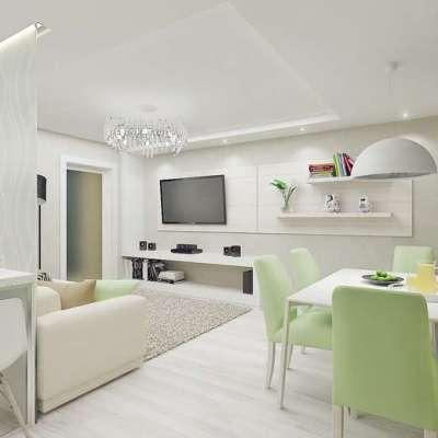 светлая кухня гостиная 15 кв. м