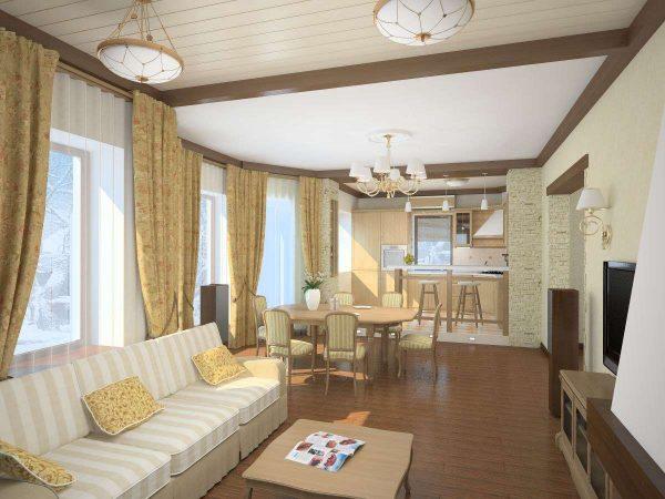 потолочное зонирование в интерьере кухни гостиной 15 кв.м