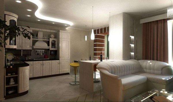 точечная подсветка в интерьере кухни гостиной 15 кв.м