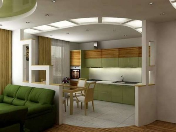 зелёный интерьер кухни гостиной 15 кв.м