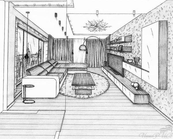 чертежи гостиной