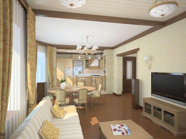 потолочное зонирование кухни гостиной 15 кв.м