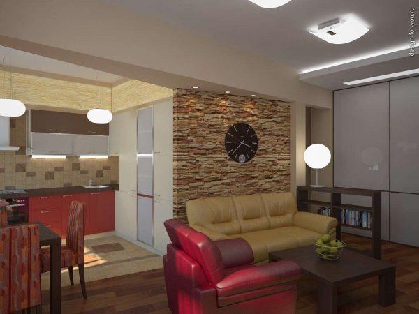 кожаные диваны в интерьере кухни гостиной 15 кв.м